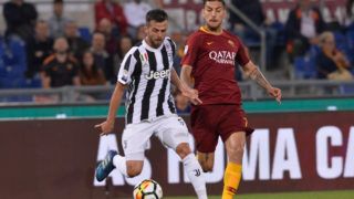 Miralem Pjanic and Lorenzo Pellegrini during the Italian Serie A football match between A.S. Roma and FC Juventus at the Olympic Stadium in Rome, on may 13, 2018. (Photo by Silvia Lore/NurPhoto)