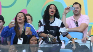 RIO DE JANEIRO, BRAZIL - JULY 13: Rihanna attends the 2014 FIFA World Cup Brazil Final match between Germany and Argentina at Estadio Maracana on July 13, 2014 in Rio de Janeiro, Brazil. (Photo by Jean Catuffe/Getty Images)