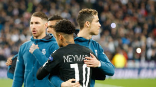MADRID, SPAIN - FEBRUARY 14: Cristiano Ronaldo of Real Madrid and Neymar of Paris looks on during the UEFA Champions League Round of 16 First Leg match between Real Madrid and Paris Saint-Germain at Bernabeu on February 14, 2018 in Madrid, Spain. (Photo by TF-Images/Getty Images)