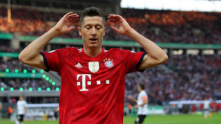 during the DFB Cup final between Bayern Muenchen and Eintracht Frankfurt at Olympiastadion on May 19, 2018 in Berlin, Germany.