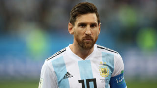 NIZHNIY NOVGOROD, RUSSIA - JUNE 21: Lionel Messi of Argentina is seen during the 2018 FIFA World Cup Russia group D match between Argentina and Croatia at Nizhny Novgorod Stadium on June 21, 2018 in Nizhny Novgorod, Russia. (Photo by Ian MacNicol/Getty Images)
