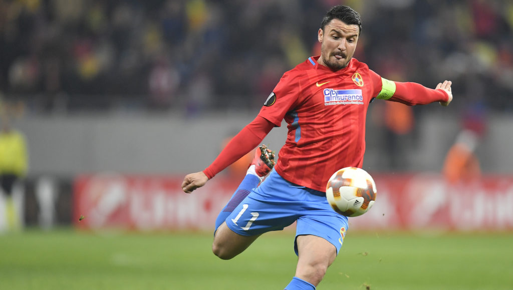 Steaua's Constantin Budescu during UEFA Europa League Round of 32 match between Steaua Bucharest and Lazio at the National Arena on February 15, 2018 in Bucharest, Romania. (Photo by Alex Nicodim/NurPhoto)