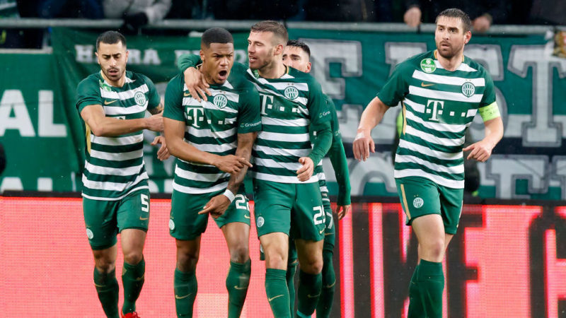 BUDAPEST, HUNGARY - MARCH 17: Kenneth Otigba #22 of Ferencvarosi TC celebrates his goal with teammates during the Hungarian OTP Bank Liga match between Ferencvarosi TC and Puskas Akademia FC at Groupama Arena on March 17, 2018 in Budapest, Hungary. (Photo by Laszlo Szirtesi/Getty Images)