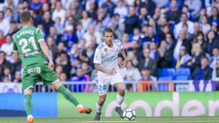 MADRID, SPAIN - APRIL 28: Daniel Ceballos Fernandez, D Ceballos, of Real Madrid in action during the La Liga 2017-18 match between Real Madrid and CD Leganes at Estadio Santiago Bernabeu on April 28 2018 in Madrid, Spain. (Photo by Power Sport Images/Getty Images)