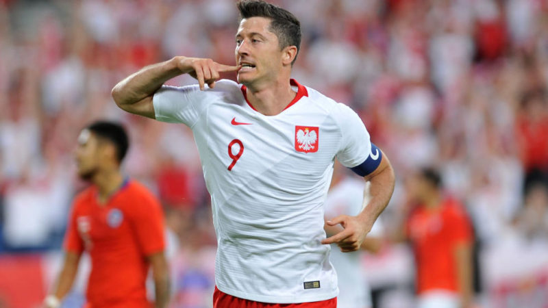 POZNAN, POLAND - JUNE 08: Robert Lewandowski of Poland celebrates scoring a goal during International Friendly match between Poland and Chile on June 8, 2018 in Poznan, Poland. (Photo by Rafal Rusek/PressFocus/MB Media/Getty Images)