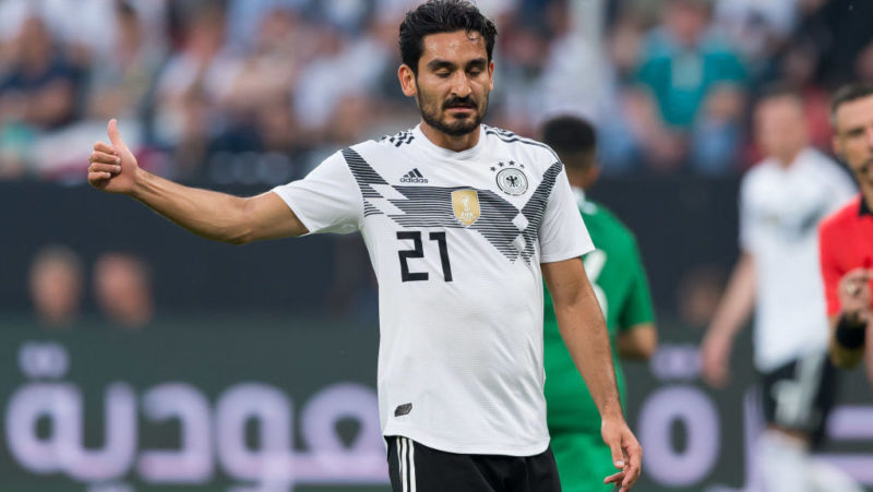 LEVERKUSEN, GERMANY - JUNE 08: Ilkay Guendogan of Germany gestures during the international friendly match between Germany and Saudi Arabia at BayArena on June 8, 2018 in Leverkusen, Germany. (Photo by TF-Images/Getty Images)