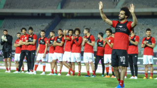 Egypt's national team footballer and Liverpool's forward Mohamed Salah waves at fans during the final practice training session at Cairo international stadium in Cairo on June 9, 2018. Liverpool star Mohamed Salah turned up for Egypt training in Cairo on Saturday ahead of the Pharaohs' departure for the World Cup in Russia but didn't take part, AFP witnessed. (Photo by Ahmed Awaad/NurPhoto via Getty Images)