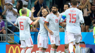 SOCHI, RUSSIA - JUNE 15: Diego Costa of Spain celebrates his goal with Andres Iniesta, David Silva, Sergio Busquets, Sergio Ramos during the 2018 FIFA World Cup Russia group B match between Portugal and Spain at Fisht Stadium on June 15, 2018 in Sochi, Russia. (Photo by Jean Catuffe/Getty Images)