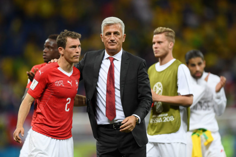 ROSTOV-ON-DON, RUSSIA - JUNE 17:  Vladimir Petkovic, Head coach of Switzerland congratulates Stephan Lichtsteiner of Switzerland following the 2018 FIFA World Cup Russia group E match between Brazil and Switzerland at Rostov Arena on June 17, 2018 in Rostov-on-Don, Russia.  (Photo by Shaun Botterill/Getty Images)