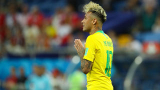 ROSTOV-ON-DON, RUSSIA - JUNE 17:   Neymar of Brazil reacts during the 2018 FIFA World Cup Russia group E match between Brazil and Switzerland at Rostov Arena on June 17, 2018 in Rostov-on-Don, Russia. (Photo by Matthew Ashton - AMA/Getty Images)
