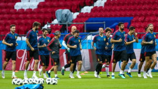 KAZAN, RUSSIA - JUNE 19, 2018: Spain's players during a training session ahead of the 2018 FIFA World Cup Group B Round 2 football match against Iran which is to take place at Kazan Arena on June 20, 2018. Yegor Aleyev/TASS (Photo by Yegor AleyevTASS via Getty Images)