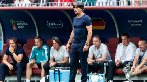 MOSCOW, RUSSIA - JUNE 17: coach Joachim Loew of Germany looks on during the 2018 FIFA World Cup Russia group F match between Germany and Mexico at Luzhniki Stadium on June 17, 2018 in Moscow, Russia. (Photo by TF-Images/Getty Images)