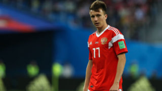 Aleksandr Golovin of the Russia national football team reacts during the 2018 FIFA World Cup match, first stage - Group A between Russia and Egypt at Saint Petersburg Stadium on June 19, 2018 in St. Petersburg, Russia. (Photo by Igor Russak/NurPhoto via Getty Images)