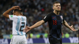 NIZHNIY NOVGOROD, RUSSIA - JUNE 21:   Ante Rebic of Croatia celebrates after scoring his team's first goal during the 2018 FIFA World Cup Russia group D match between Argentina and Croatia at Nizhniy Novgorod Stadium on June 21, 2018 in Nizhniy Novgorod, Russia.  (Photo by Clive Brunskill/Getty Images)