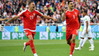 during the 2018 FIFA World Cup Russia group E match between Serbia and Switzerland at Kaliningrad Stadium on June 22, 2018 in Kaliningrad, Russia.