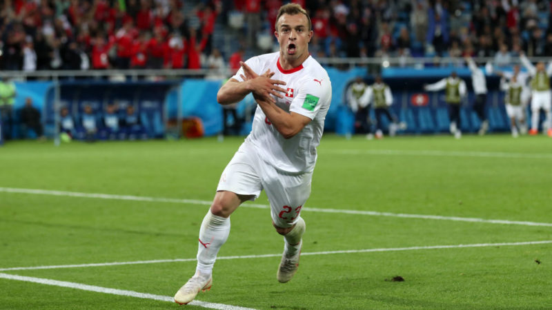 KALININGRAD, RUSSIA - JUNE 22:  Xherdan Shaqiri of Switzerland celebrates after scoring his team's second goal during the 2018 FIFA World Cup Russia group E match between Serbia and Switzerland at Kaliningrad Stadium on June 22, 2018 in Kaliningrad, Russia.  (Photo by Clive Rose/Getty Images)