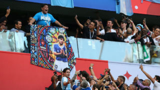 SAINT PETERSBURG, RUSSIA - JUNE 26:  Diego Armando Maradona shows his support to Argentina prior to  the 2018 FIFA World Cup Russia group D match between Nigeria and Argentina at Saint Petersburg Stadium on June 26, 2018 in Saint Petersburg, Russia.  (Photo by Alex Livesey/Getty Images)
