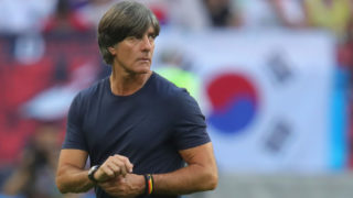 KAZAN, RUSSIA - JUNE 27:  Joachim Loew, head coach of Germany walks over the field after loosing the 2018 FIFA World Cup Russia group F match between Korea Republic and Germany at Kazan Arena on June 27, 2018 in Kazan, Russia.  (Photo by Alexander Hassenstein/Getty Images, )