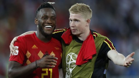 (l-r) Michy Batshuayi of Belgium, Kevin De Bruyne of Belgium during the 2018 FIFA World Cup Russia group G match between England and Belgium at the Kalingrad stadium on June 28, 2018 in Kaliningrad, Russia(Photo by VI Images via Getty Images)