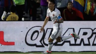 PASADENA, CA - JUNE 07: James Rodriguez #10 of Colombia reacts to scoring a goal during the first half of a 2016 Copa America Centenario Group A match between Columbia and Paraguay at Rose Bowl on June 7, 2016 in Pasadena, California.   Sean M. Haffey/Getty Images/AFP