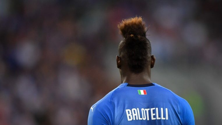 Italy's forward Mario Balotelli is pictured during the international friendly football match between Italy and Saudi Arabia at Kybunpark stadium in St. Gallen on May 28, 2018. / AFP PHOTO / Fabrice COFFRINI