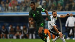 Nigeria's midfielder John Obi Mikel controls the ball during the Russia 2018 World Cup Group D football match between Nigeria and Argentina at the Saint Petersburg Stadium in Saint Petersburg on June 26, 2018. / AFP PHOTO / OLGA MALTSEVA / RESTRICTED TO EDITORIAL USE - NO MOBILE PUSH ALERTS/DOWNLOADS