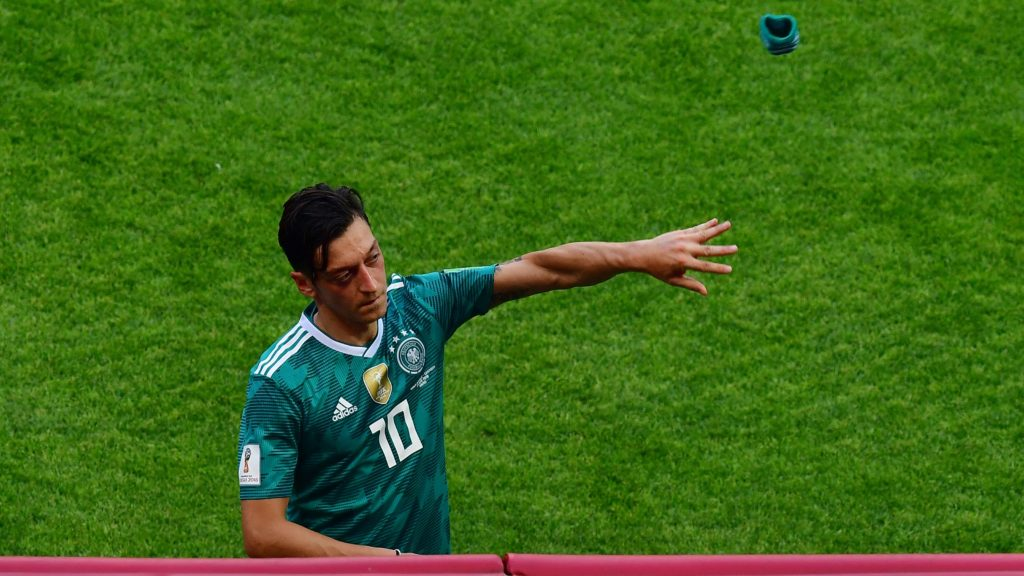Germany's midfielder Mesut Ozil reacts at the end of the Russia 2018 World Cup Group F football match between South Korea and Germany at the Kazan Arena in Kazan on June 27, 2018. Germany have been eliminated from a World Cup in the first round for the first time since the Second World War, as the holders are knocked out in the group stage for the fourth time this century. / AFP PHOTO / Luis Acosta / RESTRICTED TO EDITORIAL USE - NO MOBILE PUSH ALERTS/DOWNLOADS