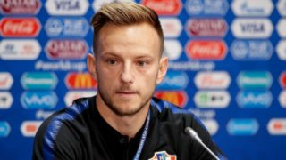 Croatia's midfielder Ivan Rakitic holds a press conference at the Luzhniki Stadium in Moscow on July 13, 2018, two days before the Russia 2018 World Cup final football match between France and Croatia. / AFP PHOTO / Odd ANDERSEN