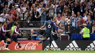 France's midfielder Paul Pogba celebrates his goal during the Russia 2018 World Cup final football match between France and Croatia at the Luzhniki Stadium in Moscow on July 15, 2018. / AFP PHOTO / Jewel SAMAD / RESTRICTED TO EDITORIAL USE - NO MOBILE PUSH ALERTS/DOWNLOADS