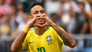 Neymar of Brazil celebrates after scoring a goal against Mexico in their Round of 16 match during the 2018 FIFA World Cup in Samara, Russia, 2 July 2018.  Brazil has roared into the World Cup quarter-finals with a 2-0 victory over Mexico as Neymar shone with a goal and an assist that dumped the central Americans out at the last 16 stage for the seventh straight occasion. The PSG forward slid home in the second half and then teed up Roberto Firmino late on as the five-times champions beat an otherwise stubborn Mexico, whose World Cup began with such promise with a victory over champions Germany, but ended in familiar fashion in the first knockout round.