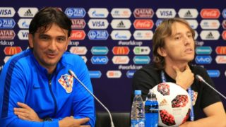 Croatia's coach Zlatko Dalic and captain Luka Modric hold a press conference at the Luzhniki Stadium in Moscow on July 14, 2018 on the eve of the Russia 2018 World Cup final football match between France and Croatia.