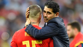 1 July 2018, Russia, Moscow: Soccer, World Cup 2018, Final round, round of 16: Spain vs. Russia at the Luschniki stadium. Spain's  Sergio Ramos (l) and coach Fernando Hierro after Spain's loss. Photo: Marius Becker/dpa