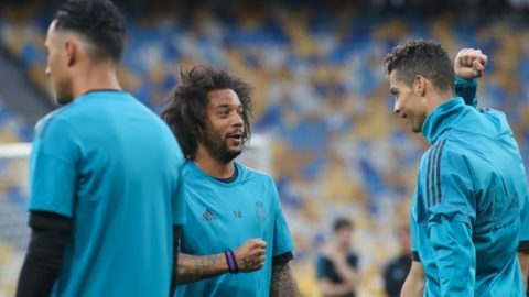 Real Madrid's Cristiano Ronaldo (R) and Marcelo (L) attend a training session at the Olimpiyskiy Stadium in Kiev, Ukraine, 25 May 2018.The 2018 UEFA Champions League Cup final football match between Real Madrid and Liverpool FC will held on May 26 at the Olimpiyskiy Stadium. (Photo by Ahmad Mora/NurPhoto)