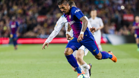 FC Barcelona midfielder Paulinho (15) during the match between FC Barcelona v Real Madrid, for the round 36 of the Liga Santander, played at Camp nou  on 6th May 2018 in Barcelona, Spain.  -- (Photo by Urbanandsport/NurPhoto)