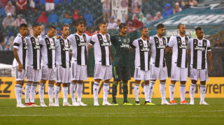 PHILADELPHIA, PA - JULY 25:  Juventus look on during the national anthems before the match against Bayern Munich during the International Champions Cup 2018 at Lincoln Financial Field on July 25, 2018 in Philadelphia, Pennsylvania.  (Photo by Mitchell Leff/International Champions Cup/Getty Images)