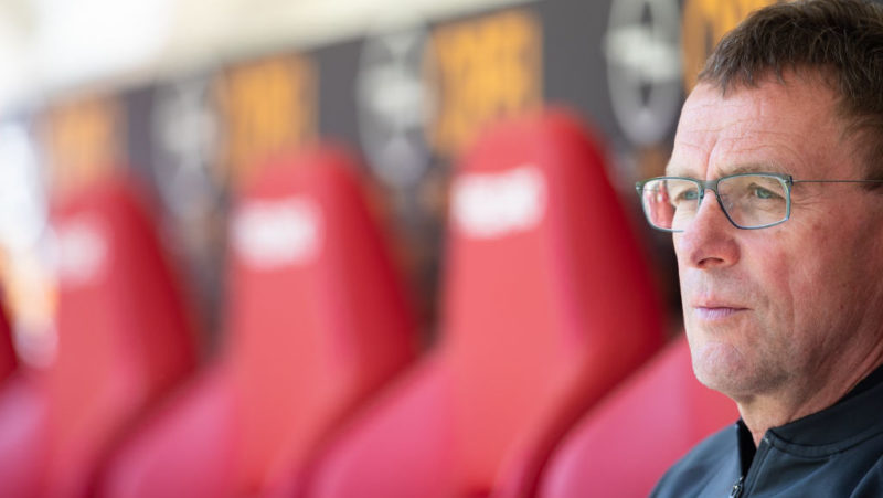 MAINZ, GERMANY - APRIL 29: Raölf Rangnick of Leipzig looks on during the Bundesliga match between 1. FSV Mainz 05 and RB Leipzig at Opel Arena on April 28, 2018 in Mainz, Germany. (Photo by Simon Hofmann/Bongarts/Getty Images)