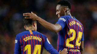 BARCELONA, SPAIN - MAY 20: Philippe Coutinho of FC Barcelona celebrates 1-0 with Yerry Mina of FC Barcelona  during the La Liga Santander  match between FC Barcelona v Real Sociedad at the Camp Nou on May 20, 2018 in Barcelona Spain (Photo by Jeroen Meuwsen/Soccrates/Getty Images)