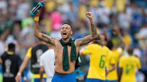 SAMARA, RUSSIA - JULY 02:  Neymar Jr of Brazil celebrates victory following the 2018 FIFA World Cup Russia Round of 16 match between Brazil and Mexico at Samara Arena on July 2, 2018 in Samara, Russia.  (Photo by Fred Lee/Getty Images)
