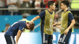 ROSTOV-ON-DON, RUSSIA  JULY 2, 2018: Japan's Takashi Inui, Makoto Hasebe, and Shinji Okazaki (L-R) upset after their 2018 FIFA World Cup Round of 16 football match against Belgium at Rostov Arena Stadium. Team Belgium won the game 3:2. Valery Sharifulin/TASS (Photo by Valery SharifulinTASS via Getty Images)