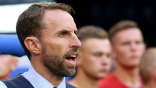 SAMARA, RUSSIA - JULY 7: Coach of England Gareth Southgate during the 2018 FIFA World Cup Russia Quarter Final match between Sweden and England at Samara Arena on July 7, 2018 in Samara, Russia. (Photo by Jean Catuffe/Getty Images)