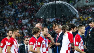 MOSCOW, RUSSIA  JULY 15, 2018: Russia's President Vladimir Putin (C) and Croatian players at a victory ceremony after the 2018 FIFA World Cup final football match between France and Croatia at Luzhniki Stadium. Team France won the game 4:2 and claimed the World Cup title. Mikhail Tereshchenko/TASS (Photo by Mikhail TereshchenkoTASS via Getty Images)
