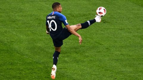 Kylian Mbappe of France stops the ball in their semifinal match against Belgium during the 2018 FIFA World Cup in Saint Petersburg, Russia, 10 July 2018.