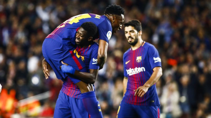 11 Ousmane Dembele from France of FC Barcelona celebrating his goal with 24 Yerry Mina from Colombia of FC Barcelona during the Spanish championship La Liga football match between FC Barcelona and Villarreal on May 9, 2018 at Camp Nou stadium in Barcelona, Spain - Photo Xavier Bonilla / Spain DPPI / DPPI