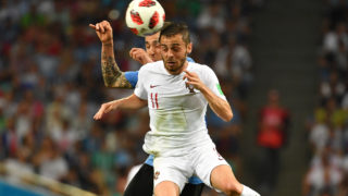 Joao MOUTINHO (POR), Action, duels versus Maximiliano PEREIRA (URU) Uruguay (URU) - Portugal (POR) 2-1, Round of 16, Round of 16, Game 49, on 30.06.2018 in SOCHI, Fisht Olympic Stadium. Football World Cup 2018 in Russia from 14.06. - 15.07.2018. | usage worldwide
