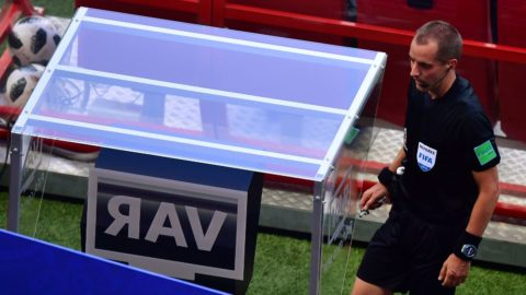 American referee Mark Geiger checks the VAR screen during the Russia 2018 World Cup Group F football match between South Korea and Germany at the Kazan Arena in Kazan on June 27, 2018. / AFP PHOTO / Luis Acosta / RESTRICTED TO EDITORIAL USE - NO MOBILE PUSH ALERTS/DOWNLOADS