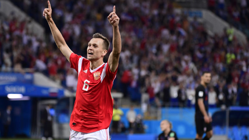 Russia's midfielder Denis Cheryshev celebrates after scoring a goal during the Russia 2018 World Cup quarter-final football match between Russia and Croatia at the Fisht Stadium in Sochi on July 7, 2018. / AFP PHOTO / PIERRE-PHILIPPE MARCOU / RESTRICTED TO EDITORIAL USE - NO MOBILE PUSH ALERTS/DOWNLOADS