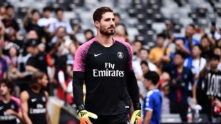 Kevin Trapp of Paris Saint-Germain takes part in a training session before the Trophee des Champions 2018 in Shenzhen city, south China's Guangdong province, 3 August 2018.