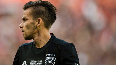 WASHINGTON, DC - OCTOBER 22: Zoltan Stieber #19 of DC United looks on against the New York Red Bulls in the second half of the final MLS game at RFK Stadium on October 22, 2017 in Washington, DC. (Photo by Patrick McDermott/Getty Images)