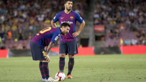 Leo Messi and Luis Suarez during the spanish league La Liga match between FC Barcelona and Deportivo Alaves at Camp Nou Stadium in Barcelona, Catalonia, Spain on August 18, 2018 (Photo by Miquel Llop/NurPhoto via Getty Images)