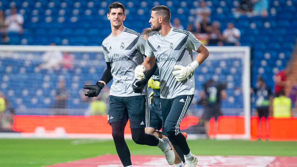 Real Madrid Thibaut Courtois and Kiko Casilla during La Liga match between Real Madrid and Getafe CF at Santiago Bernabeu in Madrid, Spain, on August 19, 2018.(Photo by Peter Sabok/COOLMedia/NurPhoto via Getty Images)